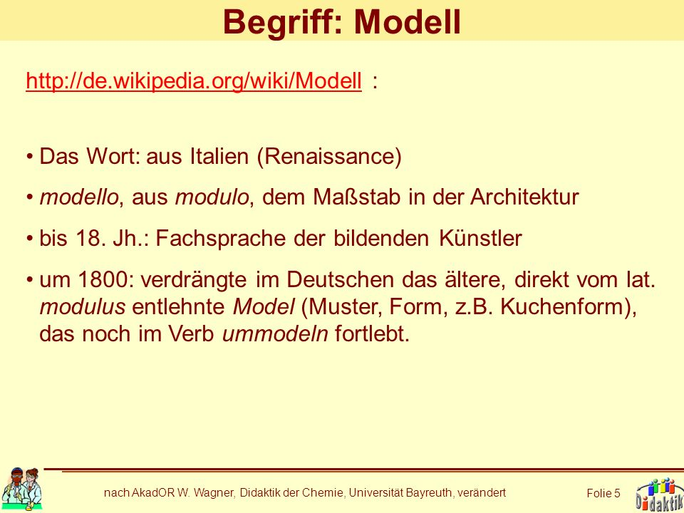 Begriff: Modell http://de.wikipedia.org/wiki/Modell :