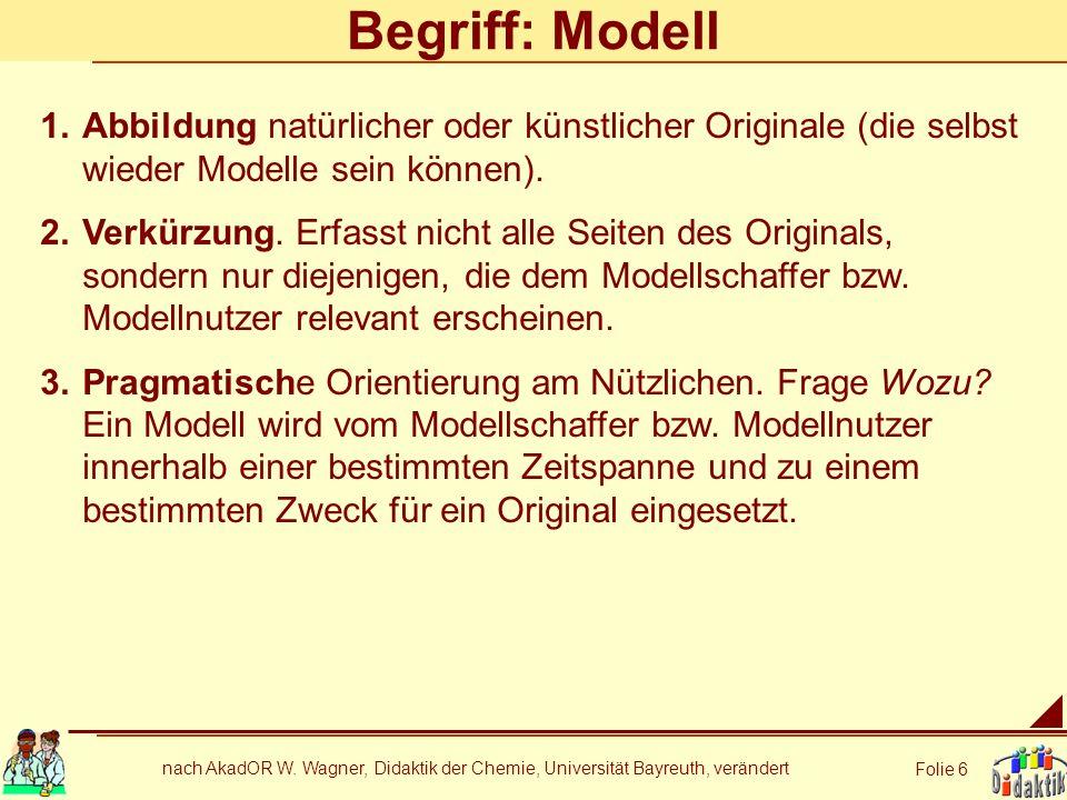 Begriff: Modell Abbildung natürlicher oder künstlicher Originale (die selbst wieder Modelle sein können).