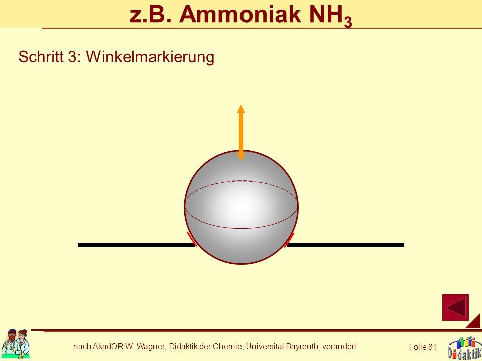 z.B. Ammoniak NH3 Schritt 3: Winkelmarkierung