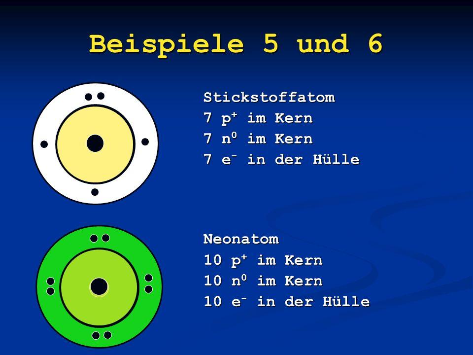 Beispiele 5 und 6 Stickstoffatom 7 p+ im Kern 7 n0 im Kern