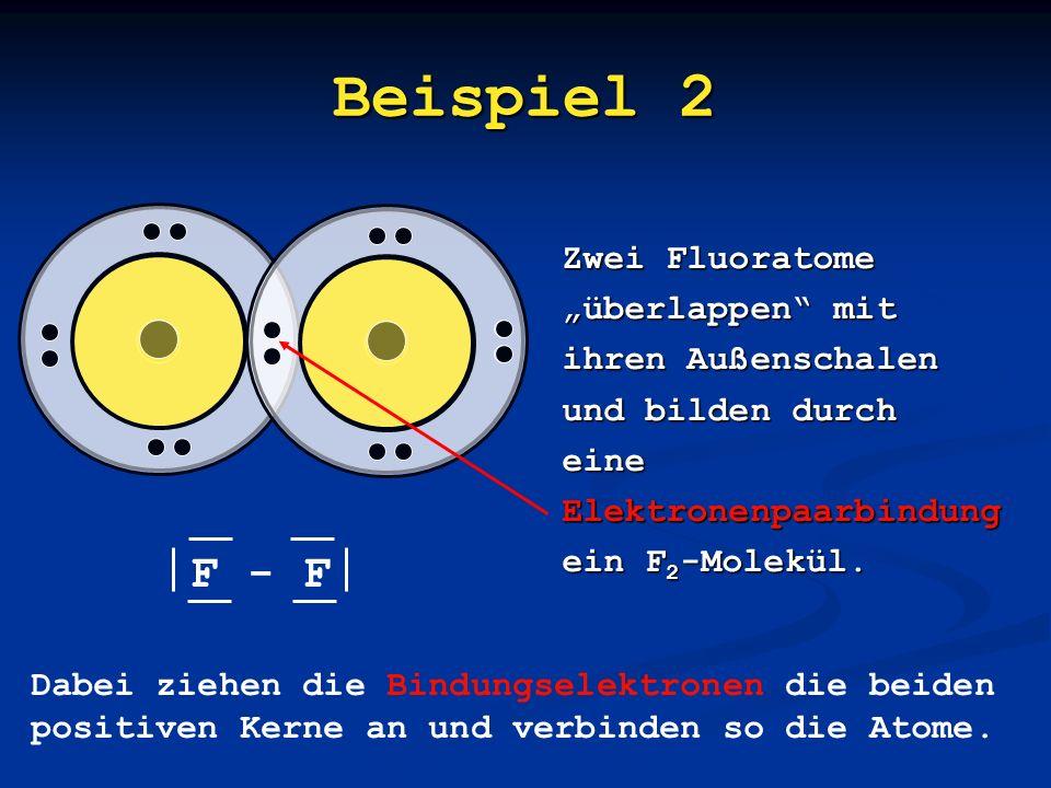 """Beispiel 2 F - F Zwei Fluoratome """"überlappen mit ihren Außenschalen"""