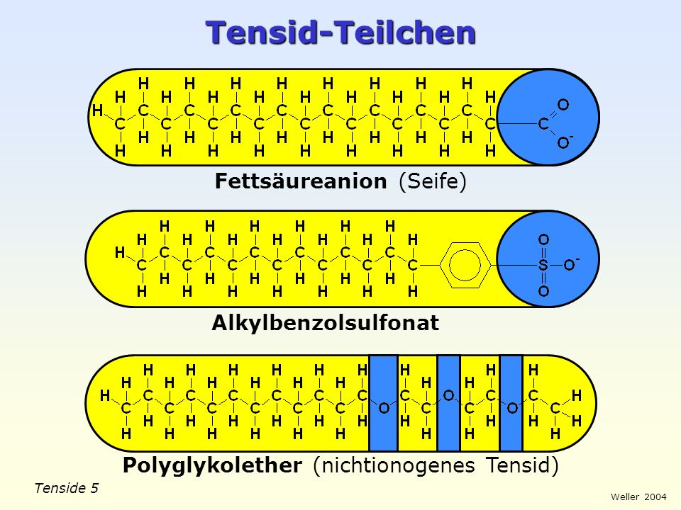 Tensid-Teilchen Fettsäureanion (Seife) Alkylbenzolsulfonat