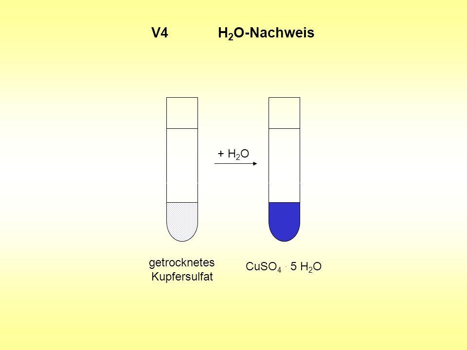 V4 H2O-Nachweis + H2O getrocknetes CuSO4 . 5 H2O Kupfersulfat