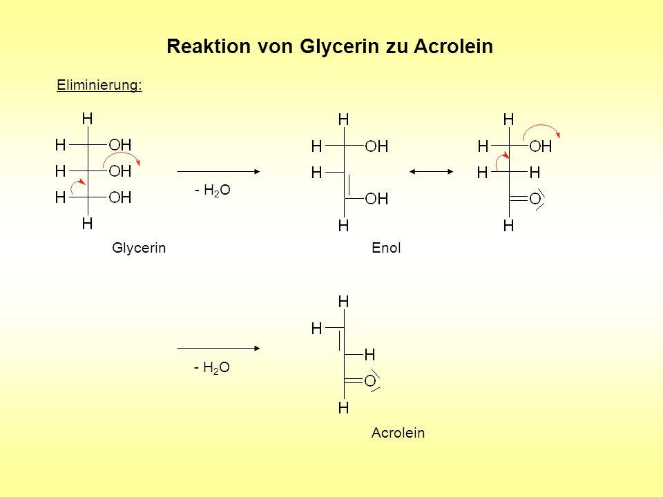 Reaktion von Glycerin zu Acrolein