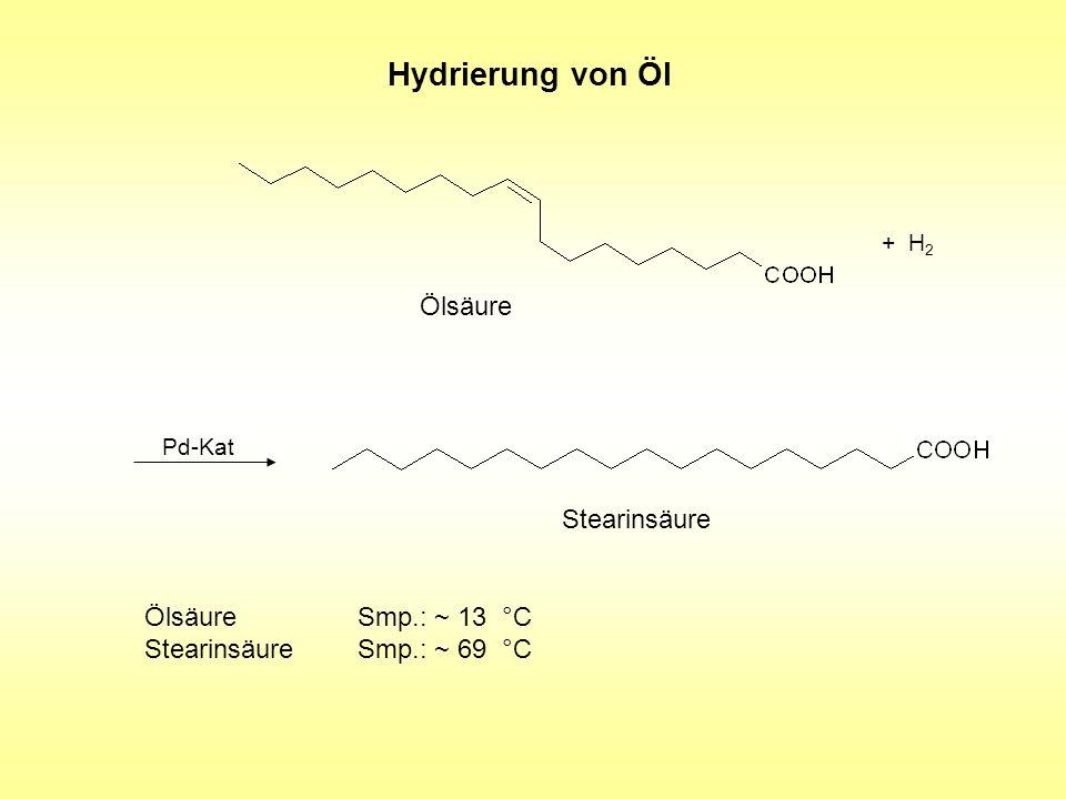 Hydrierung von Öl Ölsäure Stearinsäure Ölsäure Smp.: ~ 13 °C