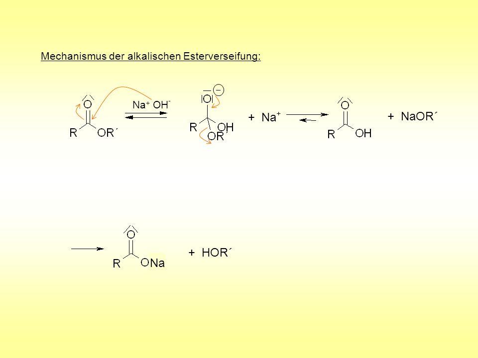 + Na+ + NaOR´ + HOR´ Na Mechanismus der alkalischen Esterverseifung:
