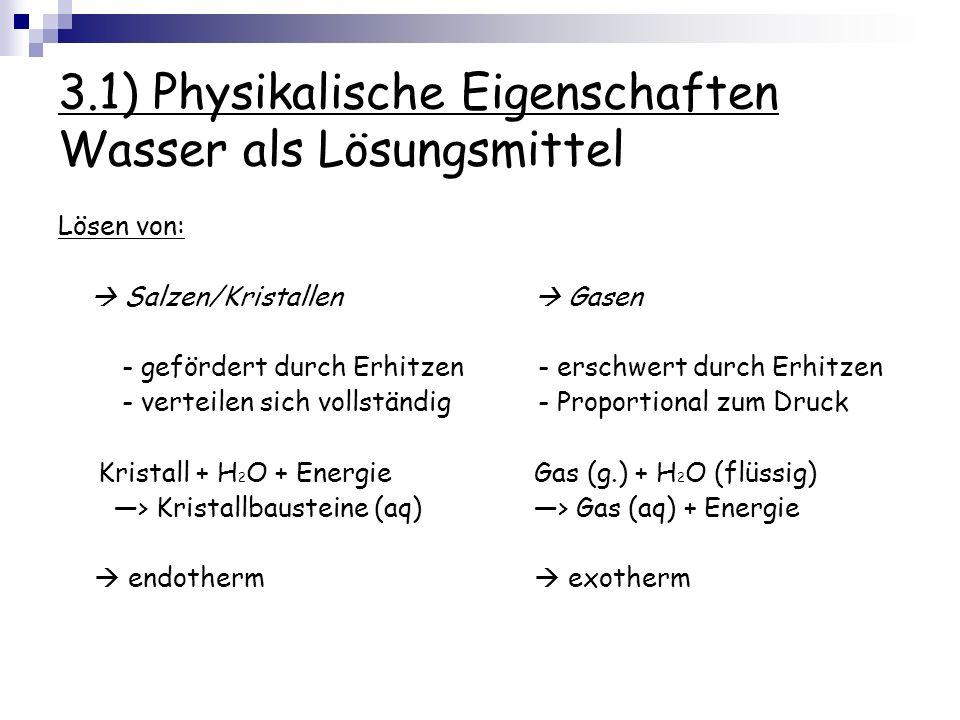 3.1) Physikalische Eigenschaften Wasser als Lösungsmittel