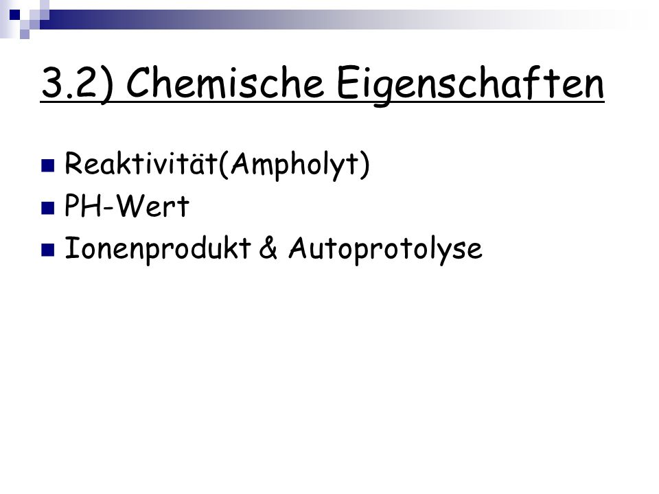 3.2) Chemische Eigenschaften