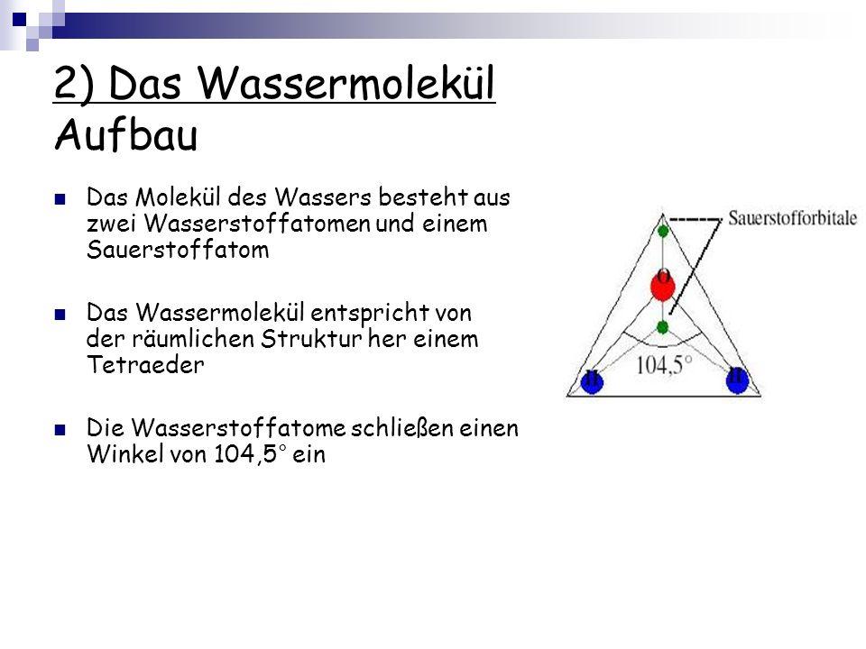 2) Das Wassermolekül Aufbau