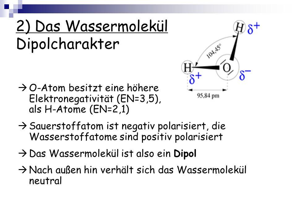 2) Das Wassermolekül Dipolcharakter