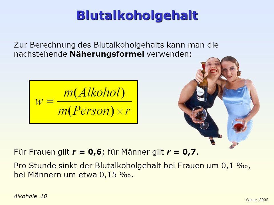 BlutalkoholgehaltZur Berechnung des Blutalkoholgehalts kann man die nachstehende Näherungsformel verwenden: