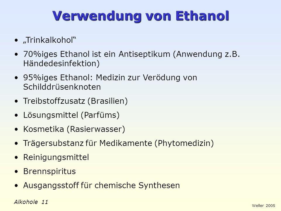 Verwendung von Ethanol