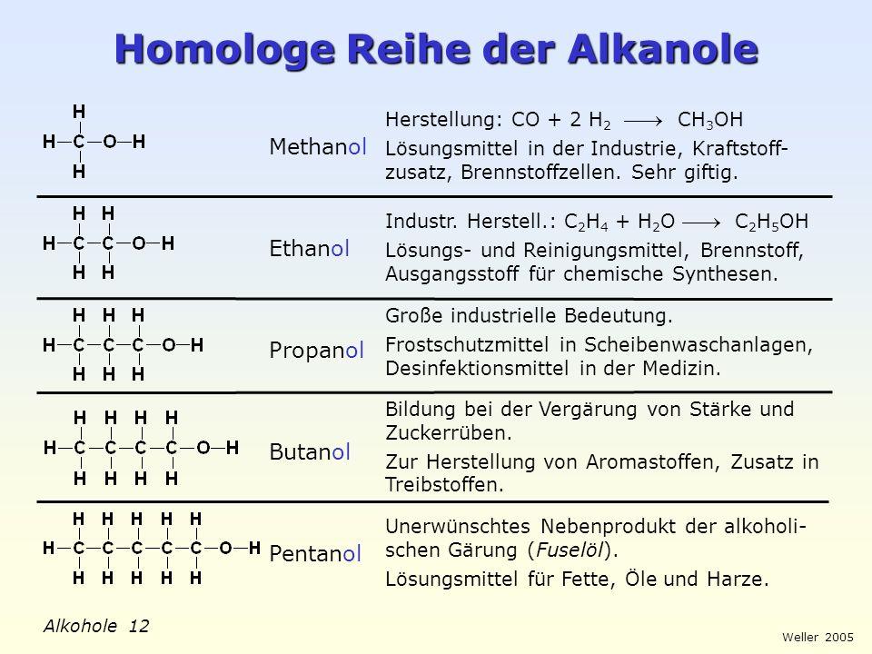 Homologe Reihe der Alkanole