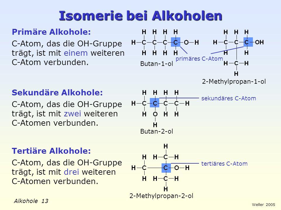 Isomerie bei Alkoholen