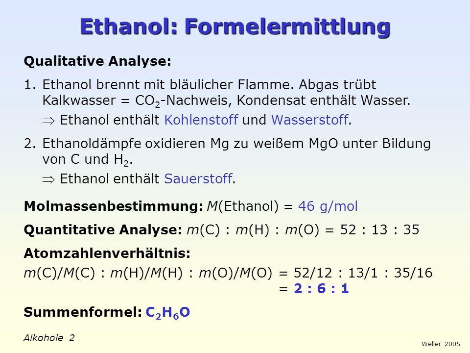 Ethanol: Formelermittlung