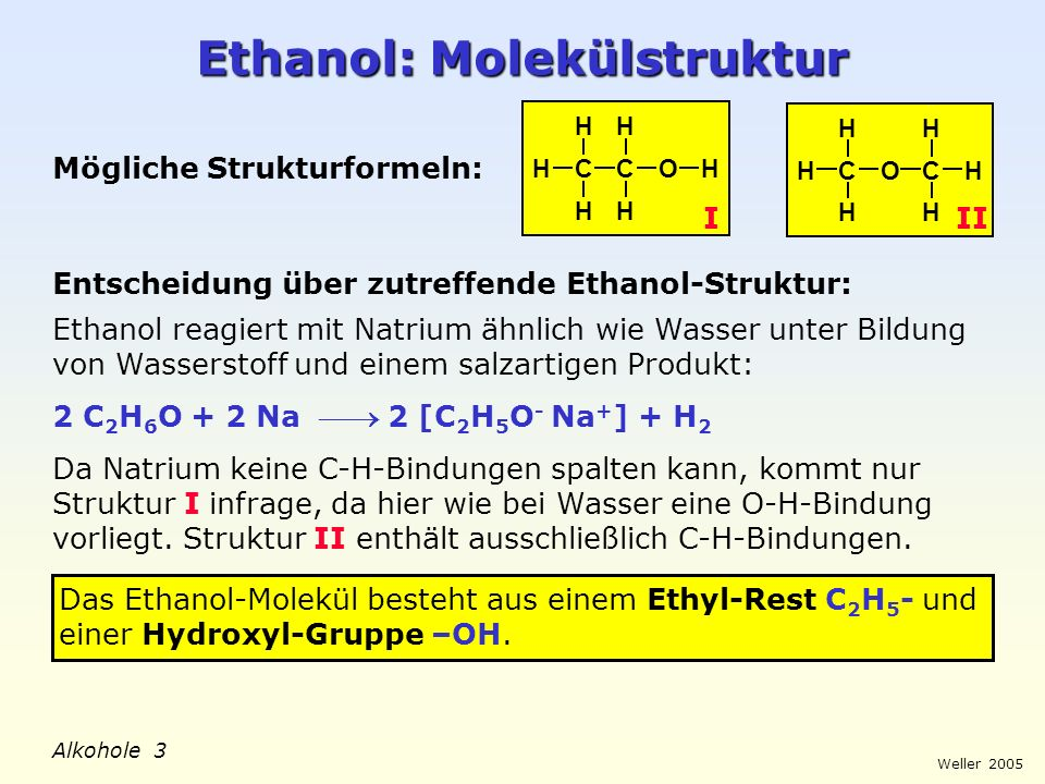 Ethanol: Molekülstruktur