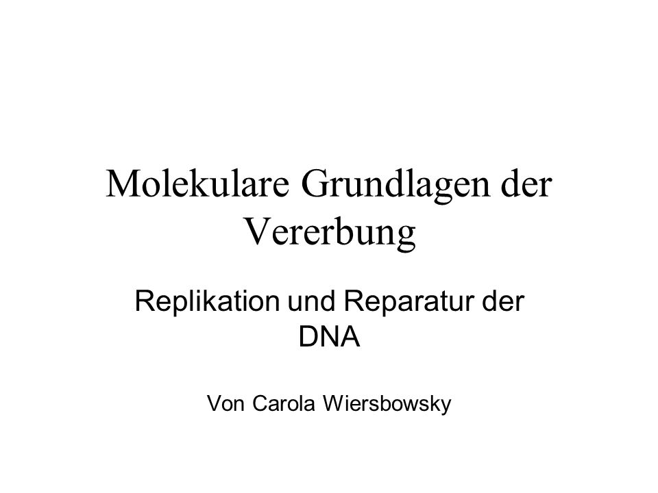 Molekulare Grundlagen der Vererbung