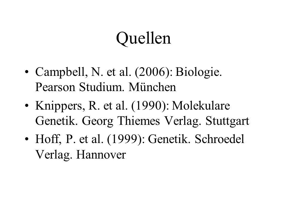 Quellen Campbell, N. et al. (2006): Biologie. Pearson Studium. München