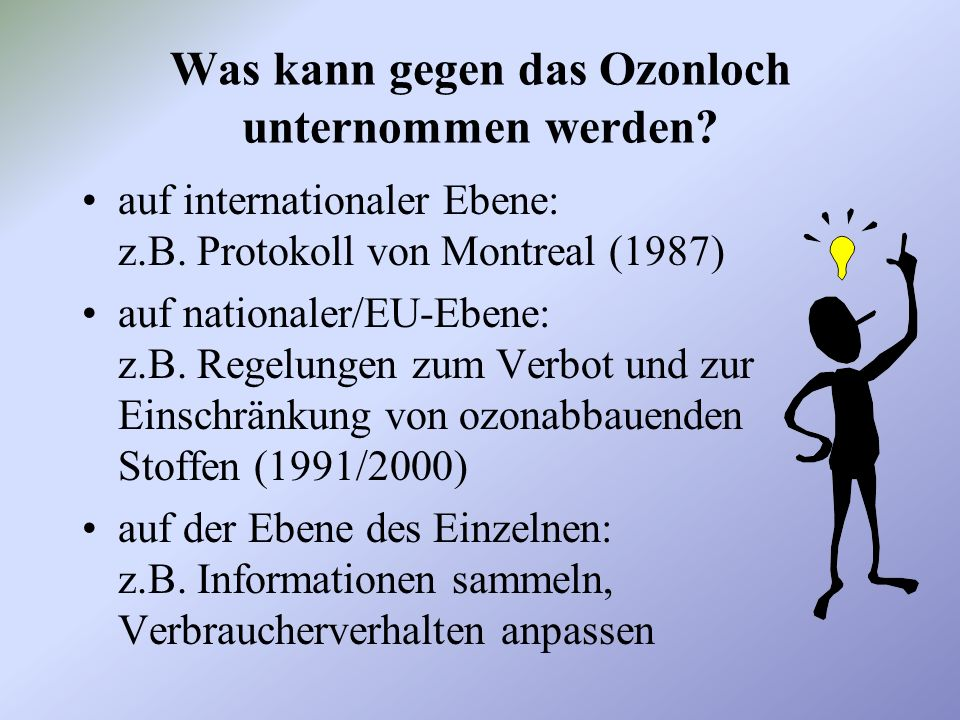 Was kann gegen das Ozonloch unternommen werden