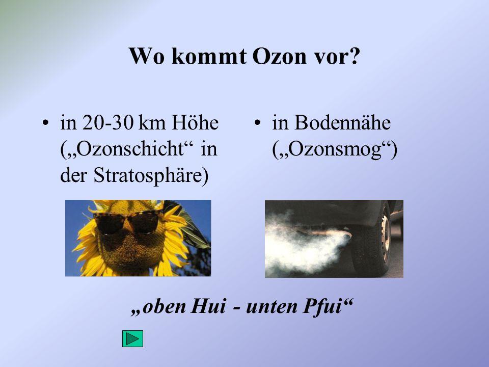 """Wo kommt Ozon vor in 20-30 km Höhe (""""Ozonschicht in der Stratosphäre) in Bodennähe (""""Ozonsmog ) """"oben Hui."""