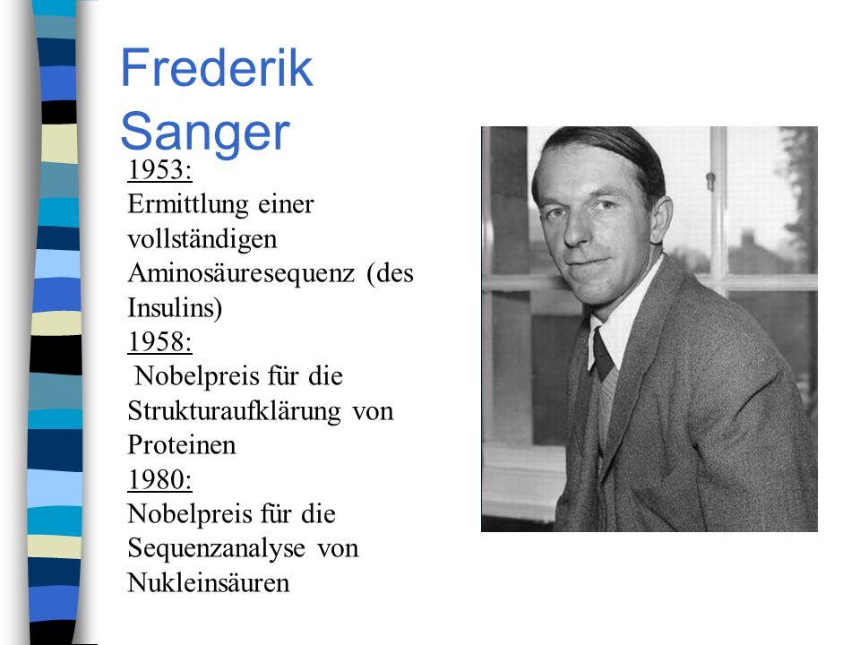 Frederik Sanger 1953: Ermittlung einer vollständigen Aminosäuresequenz (des Insulins) 1958: