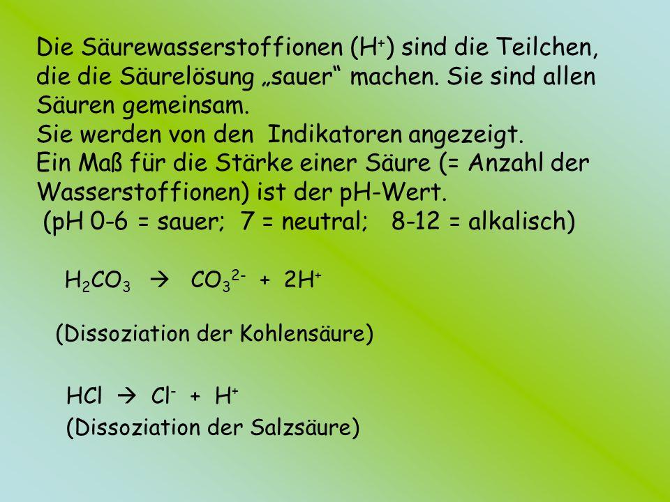 """Die Säurewasserstoffionen (H+) sind die Teilchen, die die Säurelösung """"sauer machen. Sie sind allen Säuren gemeinsam. Sie werden von den Indikatoren angezeigt. Ein Maß für die Stärke einer Säure (= Anzahl der Wasserstoffionen) ist der pH-Wert. (pH 0-6 = sauer; 7 = neutral; 8-12 = alkalisch) H2CO3  CO32- + 2H+ (Dissoziation der Kohlensäure)"""