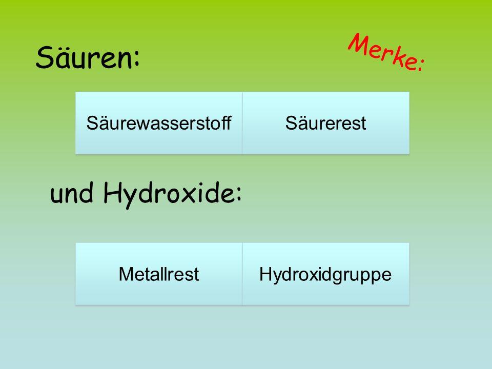 Säuren: und Hydroxide: Merke: Säurewasserstoff Säurerest Metallrest