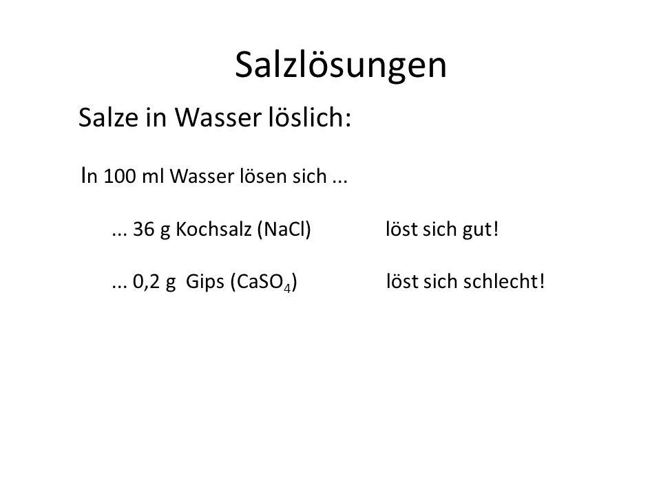 Salzlösungen Salze in Wasser löslich: In 100 ml Wasser lösen sich ...
