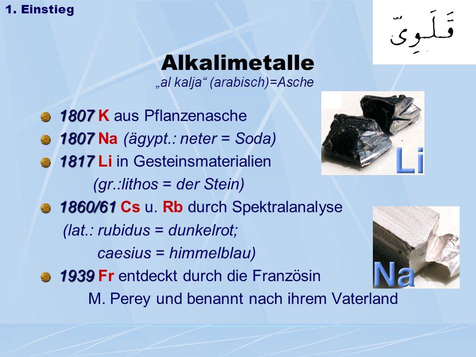 Alkalimetalle 1807 K aus Pflanzenasche 1807 Na (ägypt.: neter = Soda)