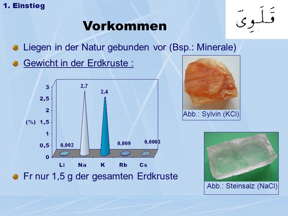 Vorkommen Liegen in der Natur gebunden vor (Bsp.: Minerale)