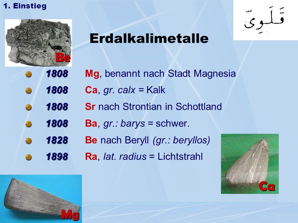 Erdalkalimetalle Be Ca Mg 1808 Mg, benannt nach Stadt Magnesia