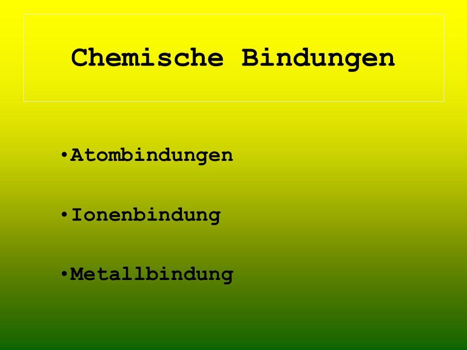 Atombindungen Ionenbindung Metallbindung