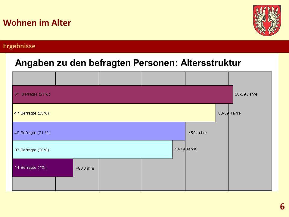 Wohnen im Alter 6 Angaben zu den befragten Personen: Altersstruktur