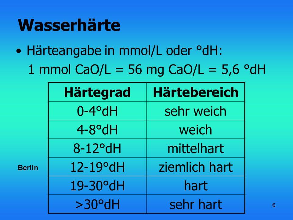 Wasserhärte Härteangabe in mmol/L oder °dH: