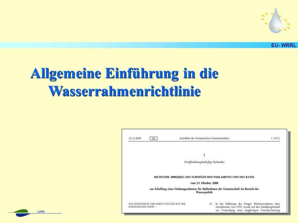 Allgemeine Einführung in die Wasserrahmenrichtlinie