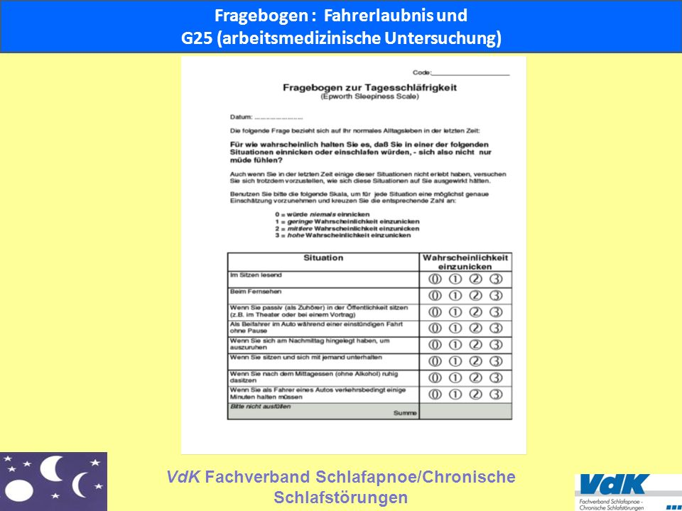 Fragebogen : Fahrerlaubnis und G25 (arbeitsmedizinische Untersuchung)