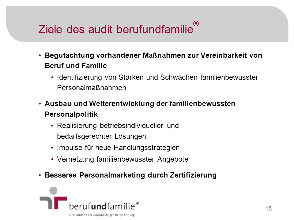 Ziele des audit berufundfamilie®