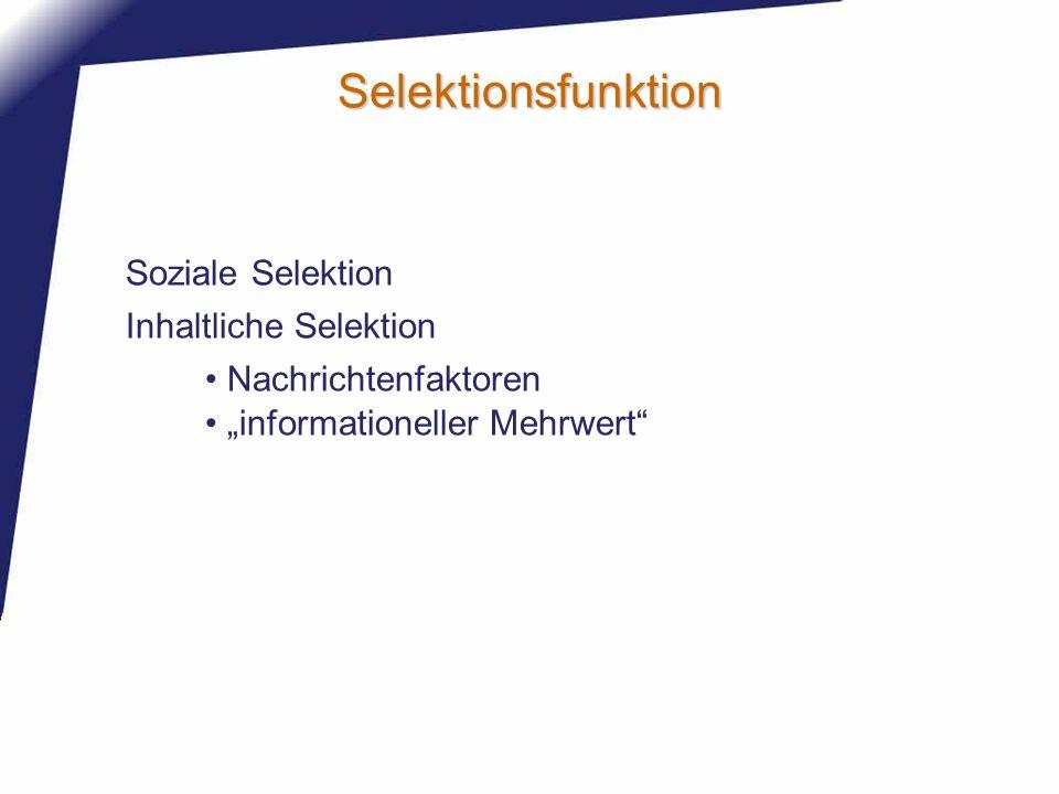 Selektionsfunktion Soziale Selektion Inhaltliche Selektion