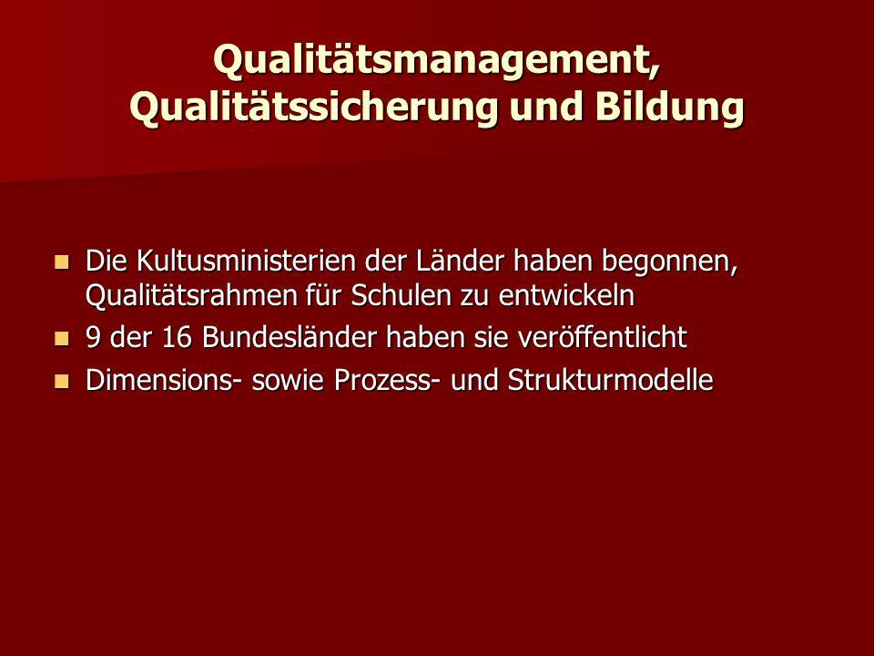 Qualitätsmanagement, Qualitätssicherung und Bildung