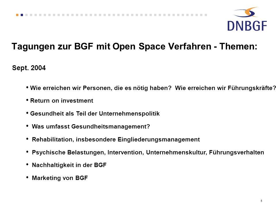 Tagungen zur BGF mit Open Space Verfahren - Themen: