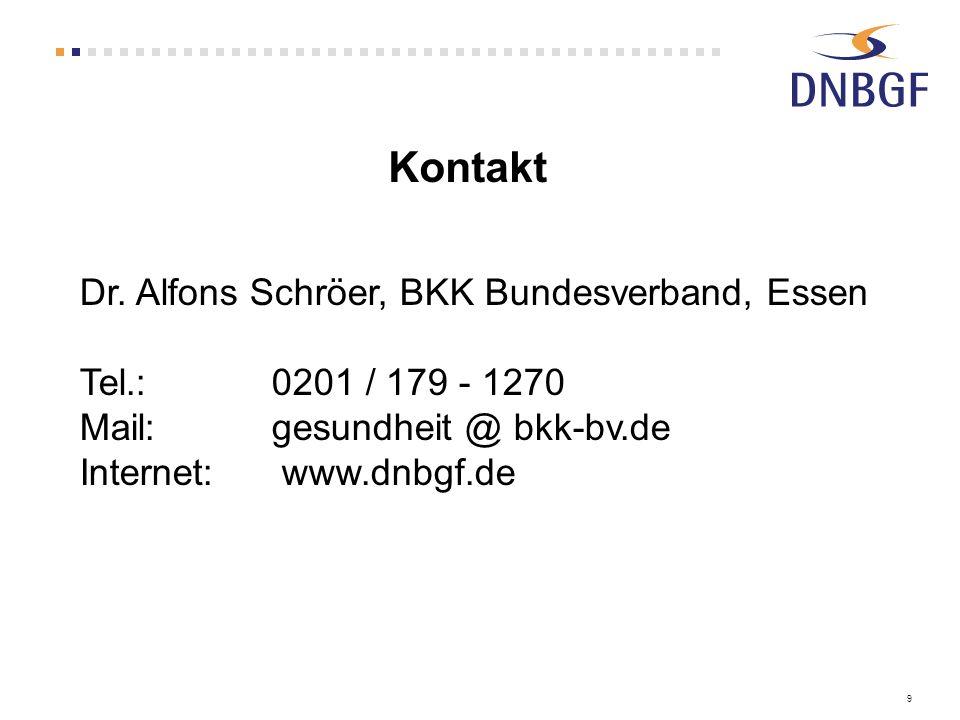 Kontakt Dr. Alfons Schröer, BKK Bundesverband, Essen