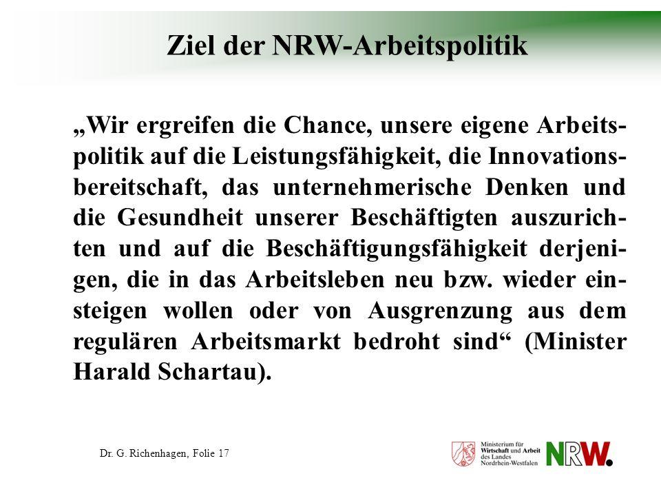 Ziel der NRW-Arbeitspolitik