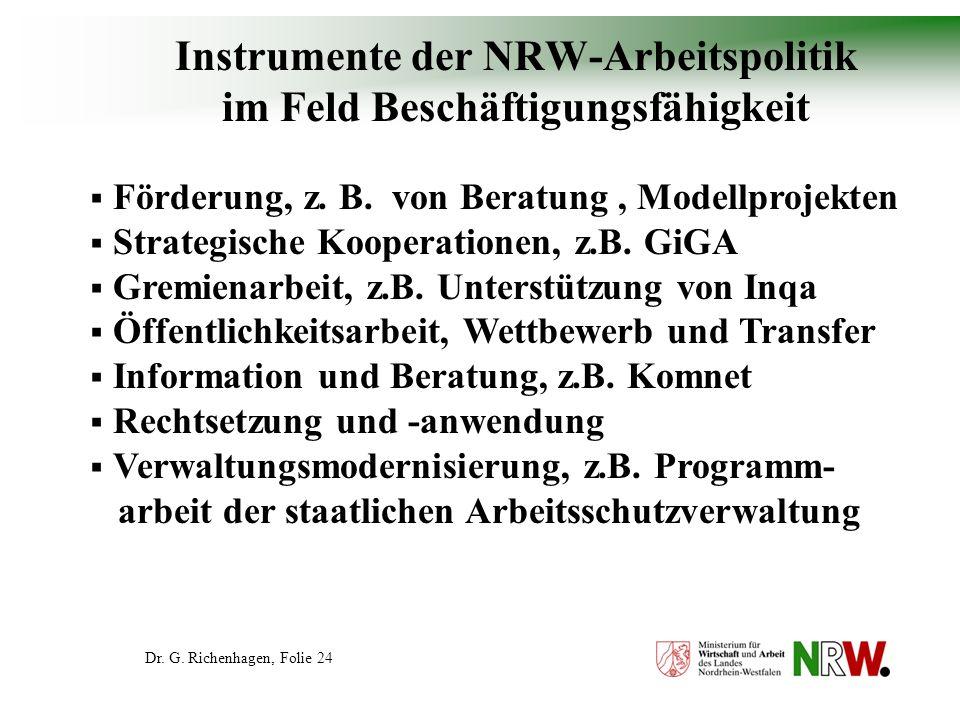 Instrumente der NRW-Arbeitspolitik im Feld Beschäftigungsfähigkeit