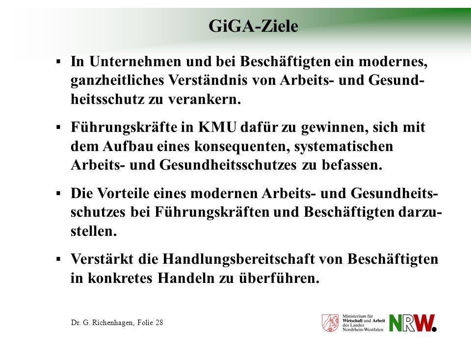 GiGA-ZieleIn Unternehmen und bei Beschäftigten ein modernes, ganzheitliches Verständnis von Arbeits- und Gesund-heitsschutz zu verankern.