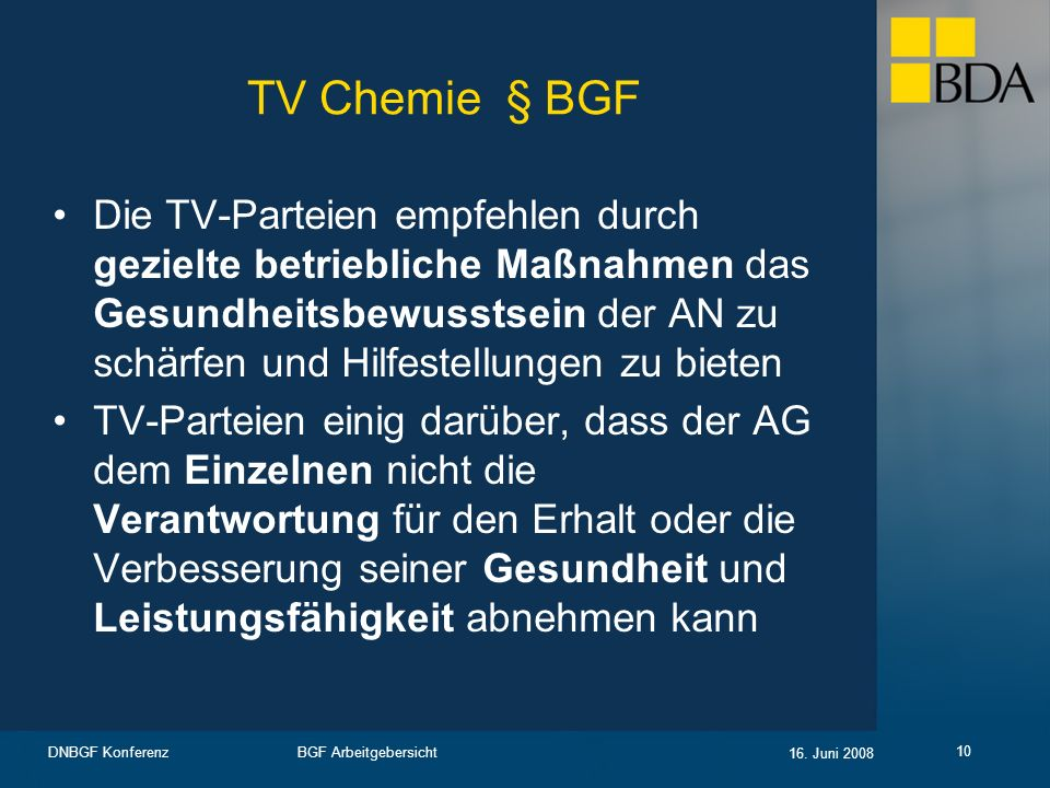 TV Chemie § BGF