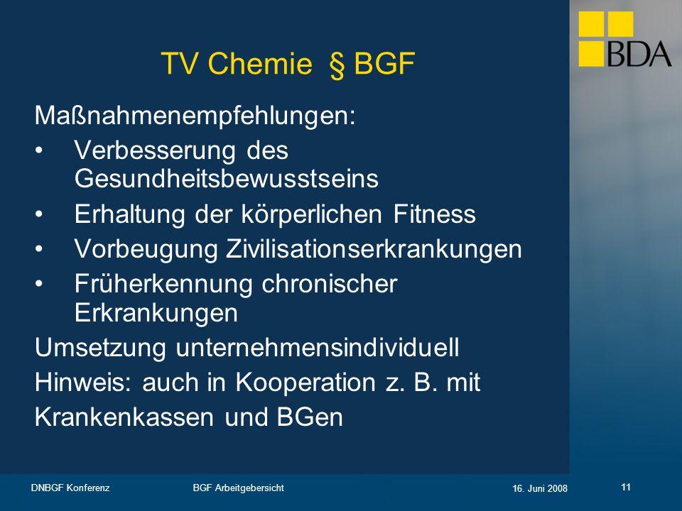 TV Chemie § BGF Maßnahmenempfehlungen: