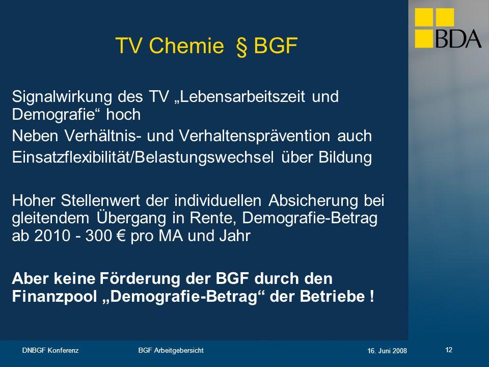"""TV Chemie § BGF Signalwirkung des TV """"Lebensarbeitszeit und Demografie hoch. Neben Verhältnis- und Verhaltensprävention auch."""