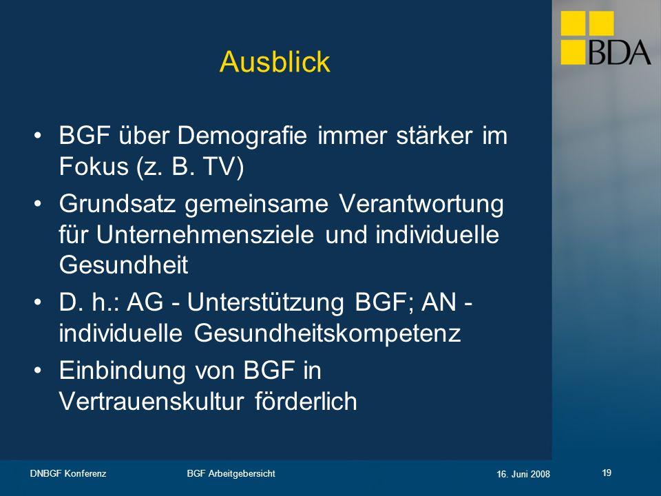 Ausblick BGF über Demografie immer stärker im Fokus (z. B. TV)