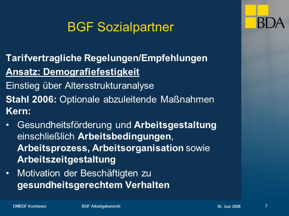 BGF Sozialpartner Tarifvertragliche Regelungen/Empfehlungen