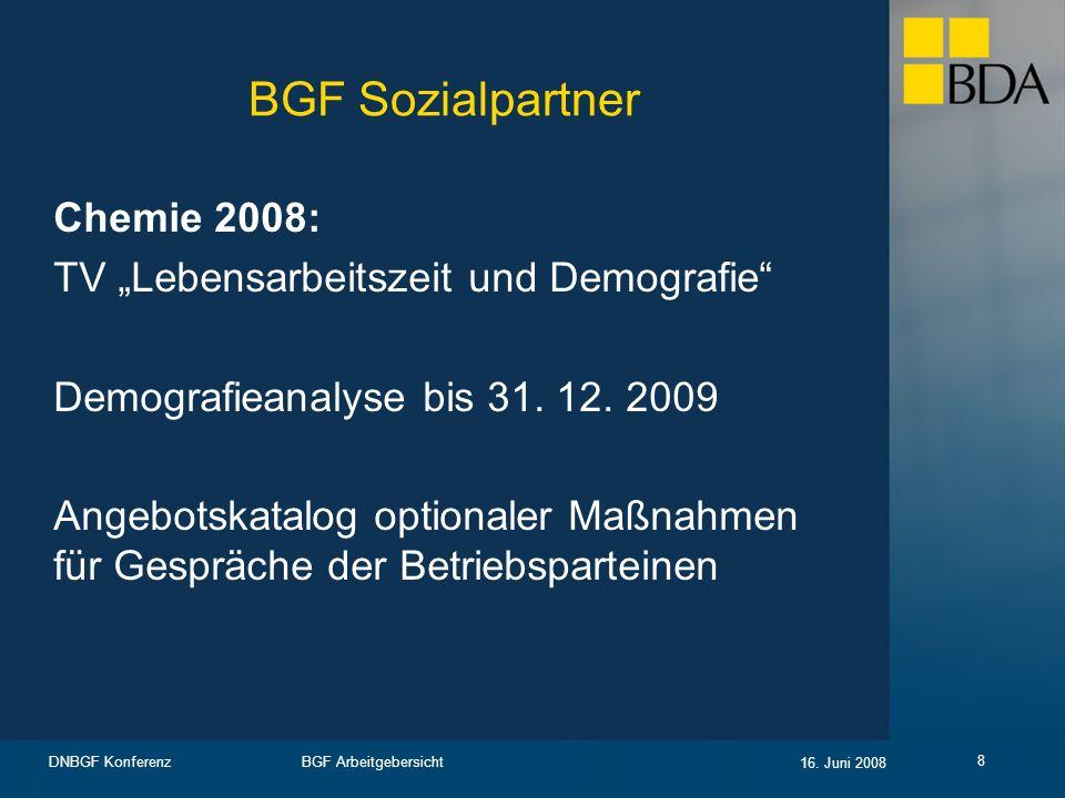 """BGF Sozialpartner Chemie 2008: TV """"Lebensarbeitszeit und Demografie"""